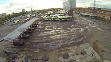 Bus parking  at station — Stockvideo