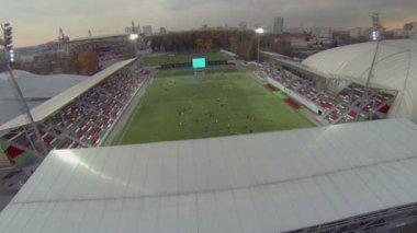 Football  field near stadium — Stock Video