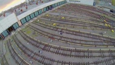 Train depot with many railroad tracks — Stock Video