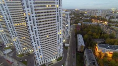 High-rise dwelling houses on Elk island in Moscow — Stock Video