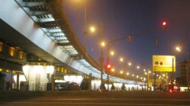 Lights of traffic near bridge — Stock Video