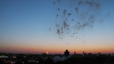 City with fireworks above — Vídeo de stock