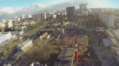 Cityscape with destruction of old buildings — Stock Video