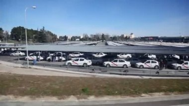 Huge parking of taxi cars — Stock Video