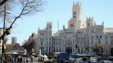 Transport moves by Cibeles Square — Stock Video