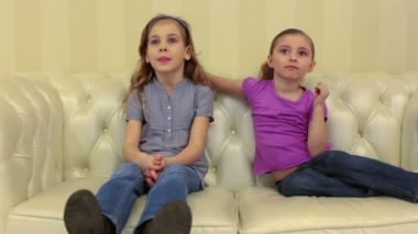 Two smiling young girls at home — Stock Video