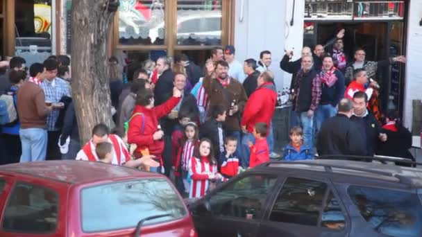 Football fans waving to the camera — Vídeo de stock