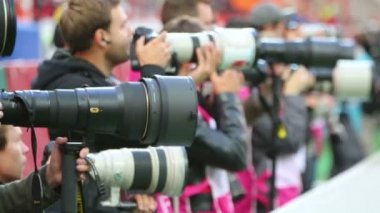 Photographers at soccer game — Stock Video