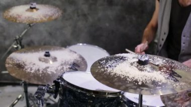 Drummer plays drums — Stock Video