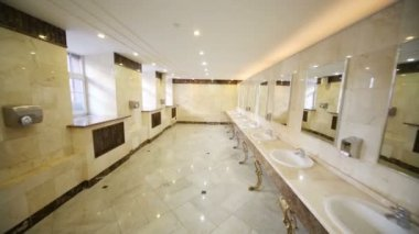 Toilet with marble flooring and countertops — Stock Video