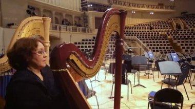 Harpist after IV Grand Festival — Stock Video
