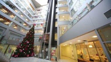 Modern big hall with Christmas tree — Stock Video