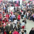 Large number of people in Sokolniki Exhibition — Stock Video #74615213