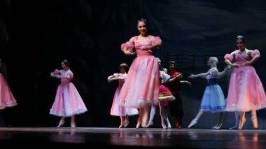 Flowers waltz scene during ballet — Stock Video