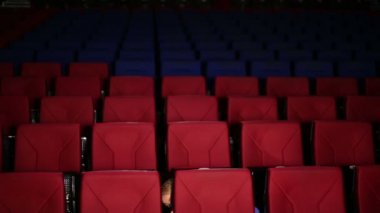 Young cute girl in cinema hall — Stock Video