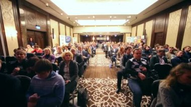 Listeners at Conference of specialists of media industry — Stock Video