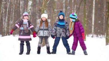 Four children in winter park — Stock Video