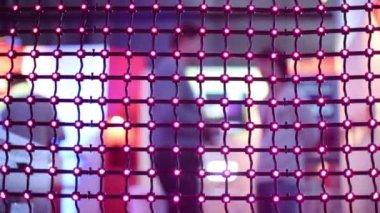 Net conduzida com luzes a piscar na exposição — Vídeo stock