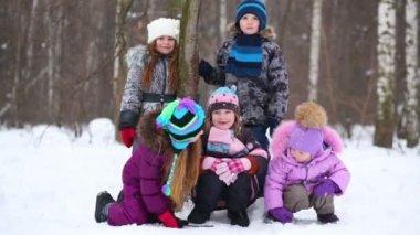 Five children in winter park — Stock Video