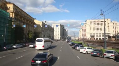 Moving along Mokhovaya street in Moscow — Stock Video