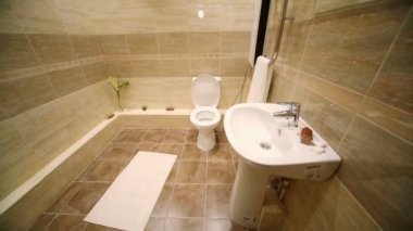 Modern toilet room with brown tiles — Wideo stockowe
