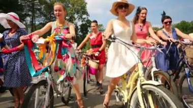 Participants on cycle parade Lady on Bicycle — Stock Video