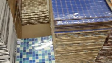 Stacks of beautiful square tiles — Wideo stockowe