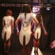 Showgirls in sexy costumes dancing — Stock Video #74993173