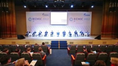 Representatives of organizations on International Conference — Stock Video