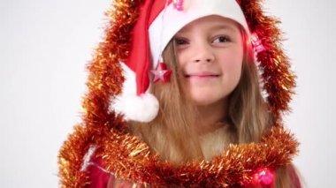 Girls in red cap Santa Claus — Stock Video