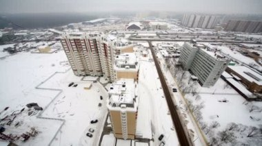 Cityscape of new residential district in winter — Стоковое видео