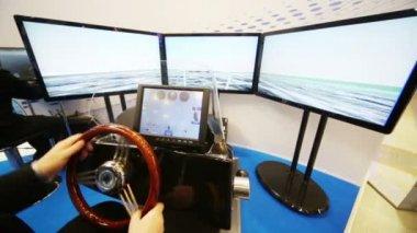 Three screens of boat simulator — Stock Video