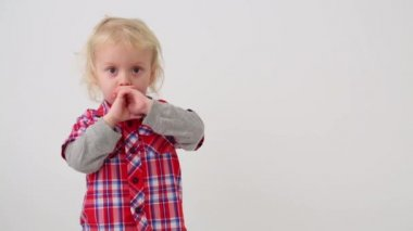 Cute little boy in modern clothes — Stock Video