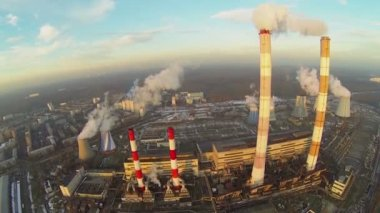 Territory of power plant at evening — Stock Video