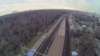 Loading of passengers train on railway station — Stock Video