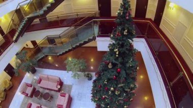 Christmas tree and sofas in hotel — Stock Video
