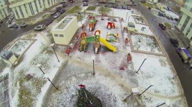 Yard with playground and christmas tree — Vidéo