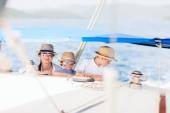 Mother and kids at luxury yacht — Stock Photo