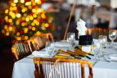Table setting for Christmas party — ストック写真