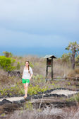 Young woman hiking at Galapagos islands — Stock Photo