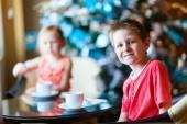 Kids drinking tea — Stock Photo