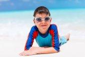 Cute boy at beach — Stock Photo