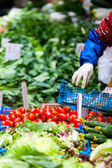 Herbs and vegetables at market — Stock Photo