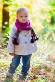 Toddler girl outdoors at autumn day — Stock Photo