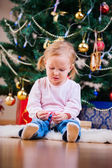 Christmas toddler girl portrait — Stock Photo