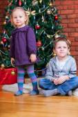 Two kids at Christmas — Stock Photo