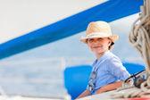 Little girl at luxury yacht — Stock Photo