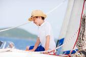 Teenage boy at luxury yacht — Foto de Stock