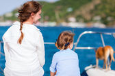 Family sailing on a luxury yacht — Stock Photo