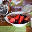 Breakfast with fresh fruits and coffee — Stock Photo #57670647